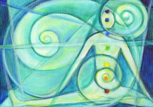 Fine art metaphysical painting, of yoga practitioner embodying the 7 chakras, stretching, surrounded by reiki healing swirls.